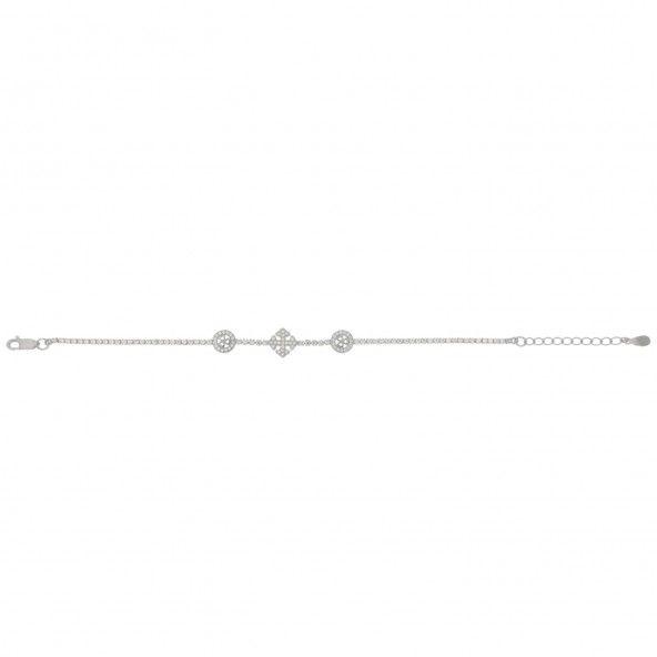 Bracelet Ajustable Argent 925/1000 Coeurs et Croix