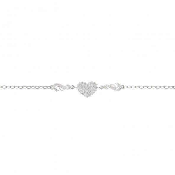 925/1000 Silver Bracelet with Heart Zirconium Stones