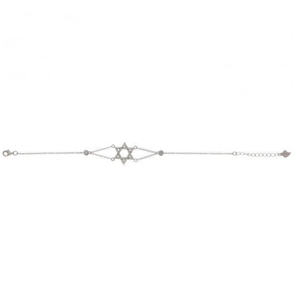 925/1000 Silver Extensible Bracelet Star of David