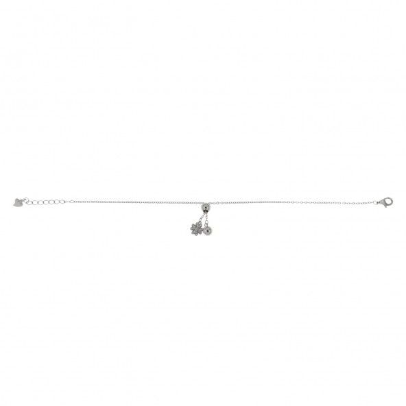 925/1000 Silver Extensible Bracelet with four-leaf Clover pendant