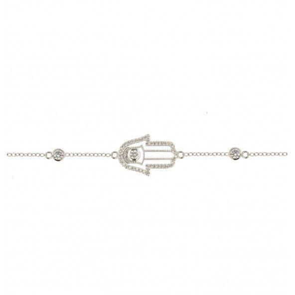 Bracelet Argent 925/1000 Main de Fatima avec Pierres Zirconium.
