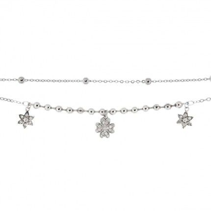 Silver 925/1000 Double Bracelet with Flowers and Zirconium Stones