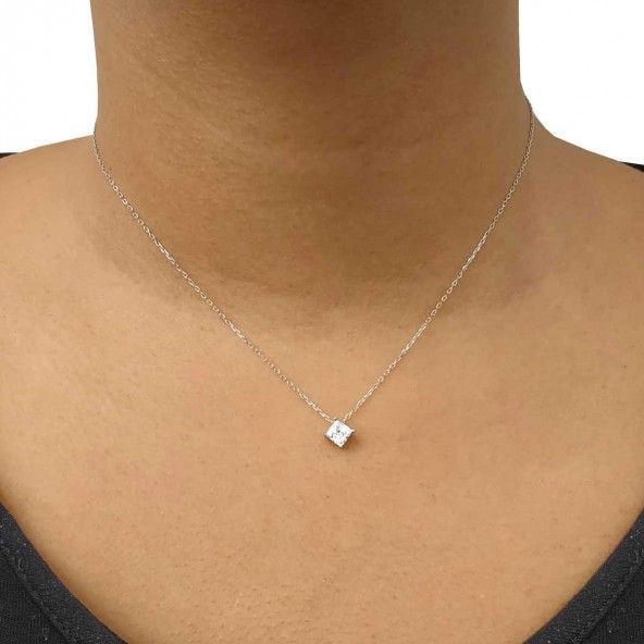 Necklace Silver 925/1000 with Solitaire Zirconium Square