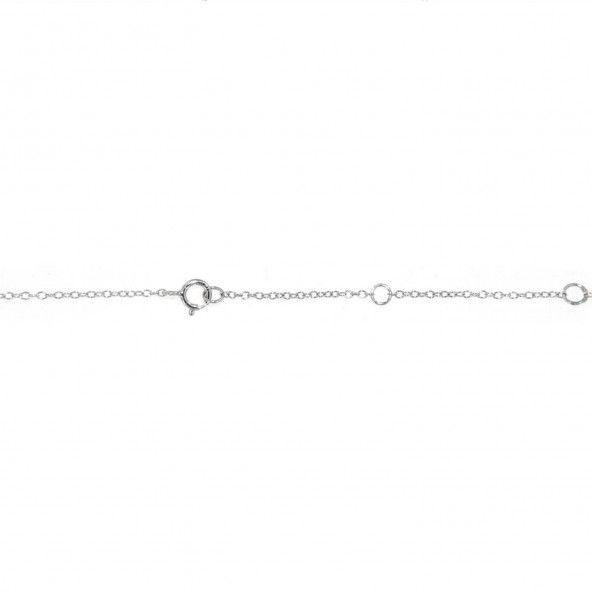 Collier Argent 925/1000 Pendentif Triangle avec Pierres Zirconium