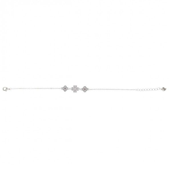 Bracelet Fleurs et Trèlfle à quatre feuilles Argent 925/1000 et Pierres Zirconium