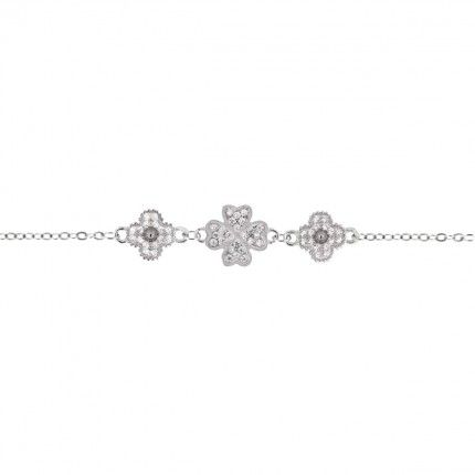 Bracelet Flowers and Trelfle with four leaves Silver 925/1000 and Zirconium stones