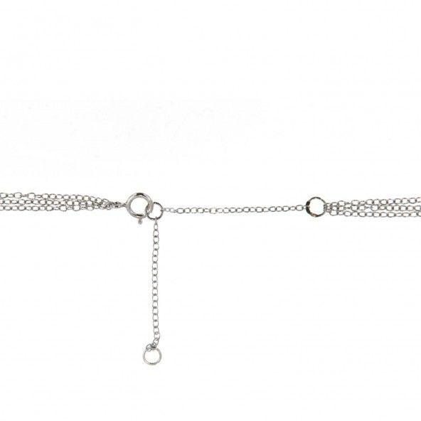 Collier Argent 925/1000 3 chaînes avec Pendentifs Triangle, solitaire Zircon et V