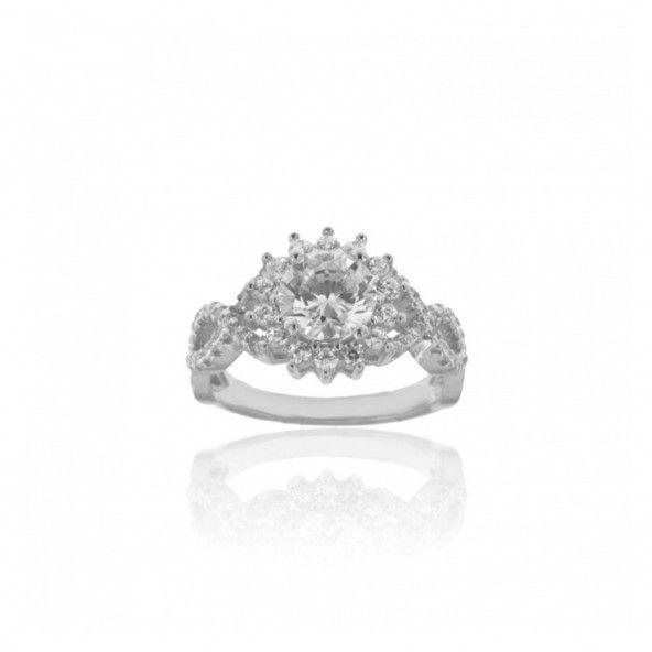 Ring Silver 925/1000 Solitaire Soleil with Zirconium Stones