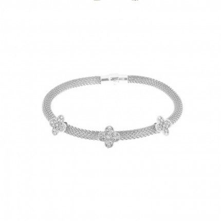 Bracelet Tréssé Silver 925/1000 with Flowers and Stones Zirconium