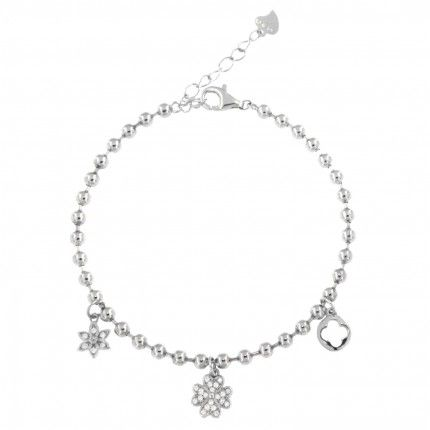 Silver 925/1000 bracelet with flower and four leaf clover pendants