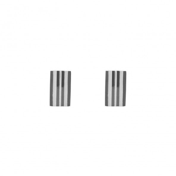 Botões de Punho em Aço com Tiras Pretas