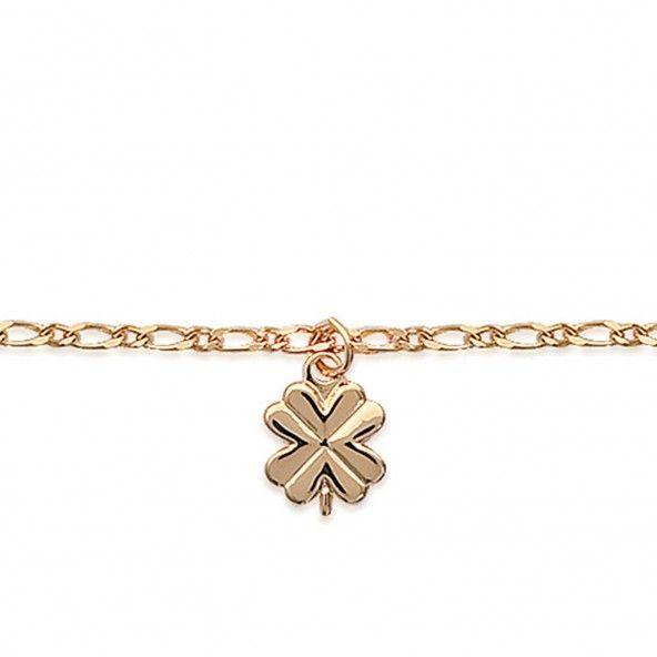 Bracelet de cheville avec trèfle à quatre feuilles plaqué or