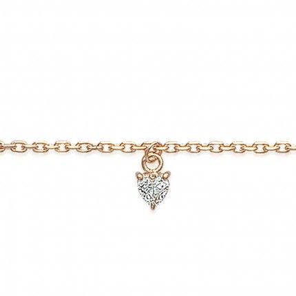 Bracelet de cheville en plaqué or avec pierre Zircon en forme de coeur