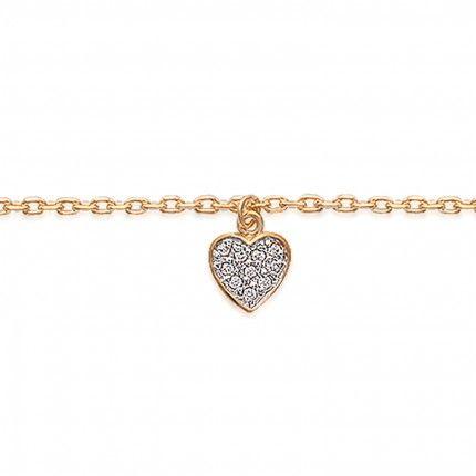 Bracelet de cheville en plaqué or avec Coeur Zircon