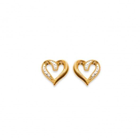 Boucles d'oreilles Coeur Bicolor Plaqué Or