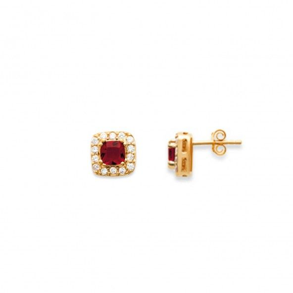 Earrings with Red Zirconium Stone 5mm Gold plated