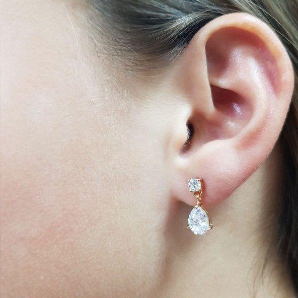 Boucles d'oreilles avec Goutte Zircon Plaqué Or