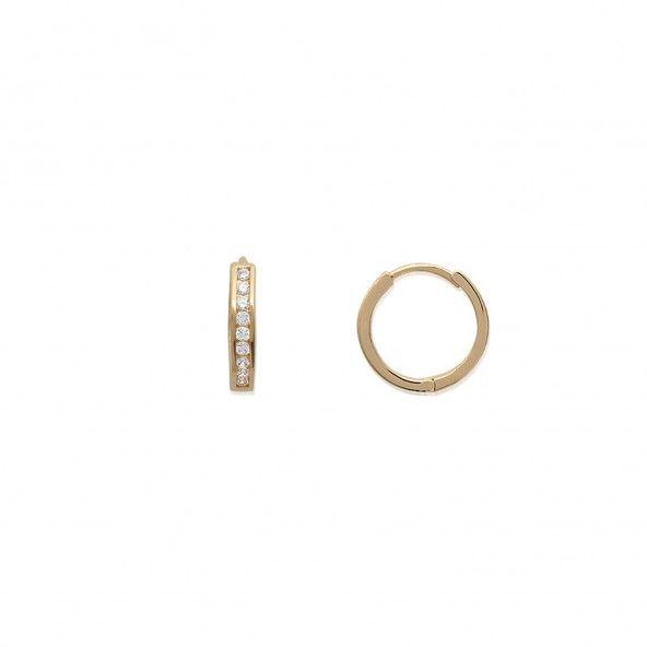 Gold plated Hoops with 10 Zirconium Stones Diameter 16mm