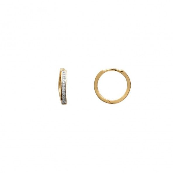 Gold plated Earrings with 1 line of Zirconium Stone