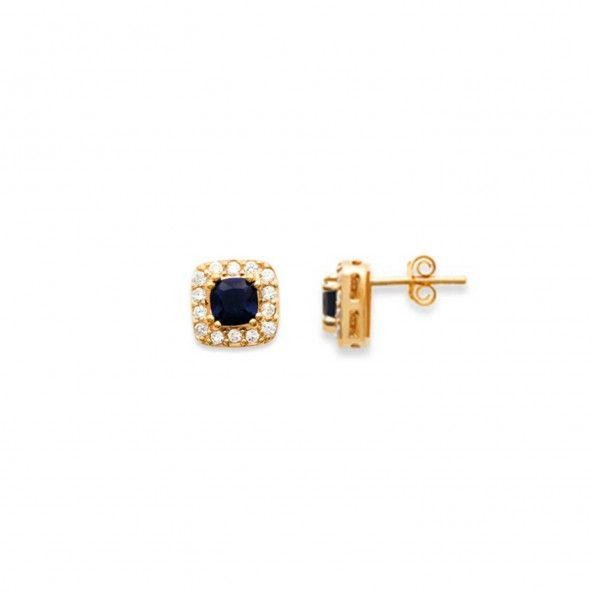 Brincos Com Pedra Azul e Zircónia Plaqueado Ouro 10mm