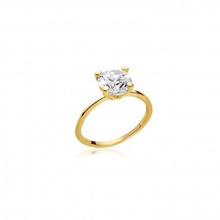 Ring Solitaire Zirconium 6mm Gold Plated