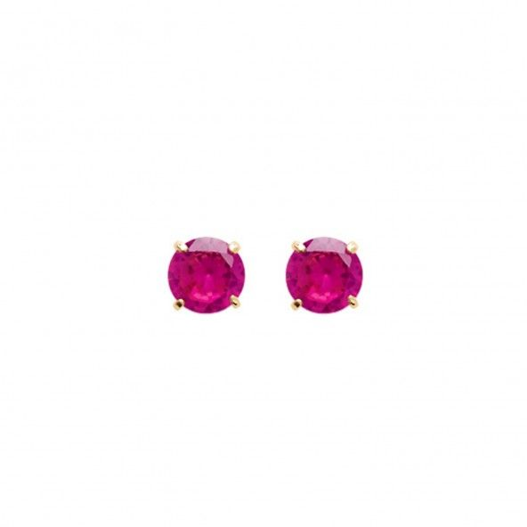 Earring with Pink Stone Gold plated