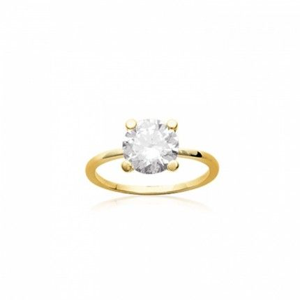 Ring Solitaire Zirconium 8mm Gold Plated