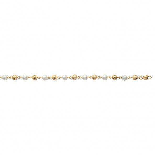 Bracelet avec Boules et Perles Plaqué Or