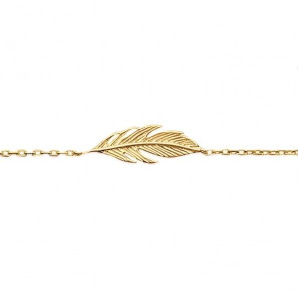 Collier Feather Gold Plated