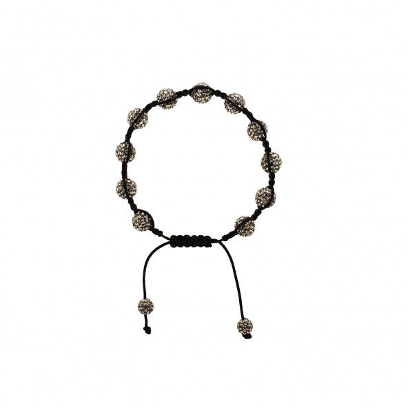 Bracelet Cordon Noir Swarovski Gris