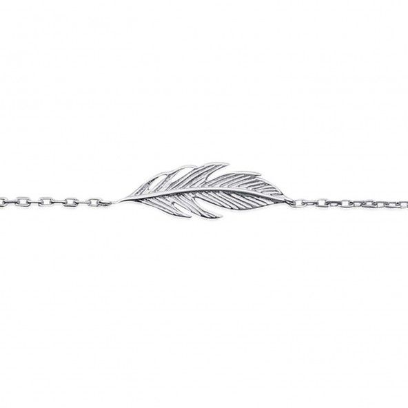 925/1000 Silver Feather Bracelet