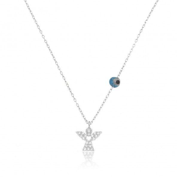 Collier Ange Zircon Ajustable 40+5 cm Argent 925/1000