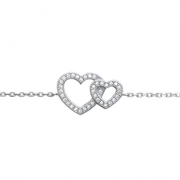 Bracelet 2 Coeurs Zircon Argent 925/1000
