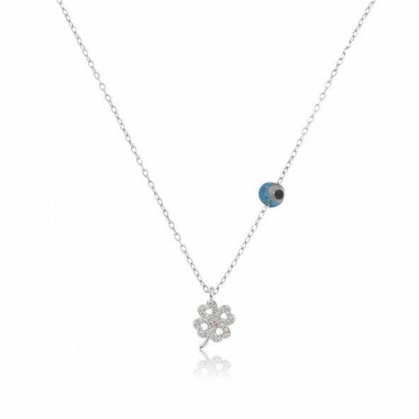 Extensible Zirconium Necklace Clover 40 + 5 cm 925/1000 Silver