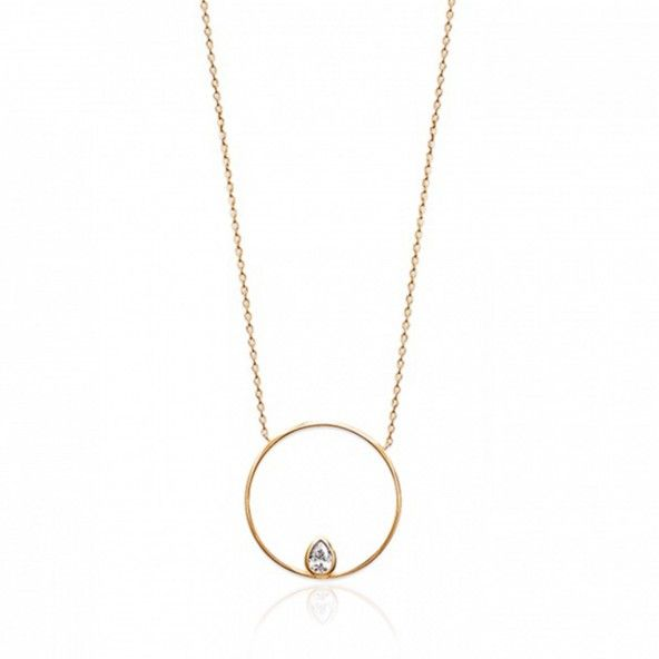 MJ Necklace Circle with Zirconium Drop Gold Plated