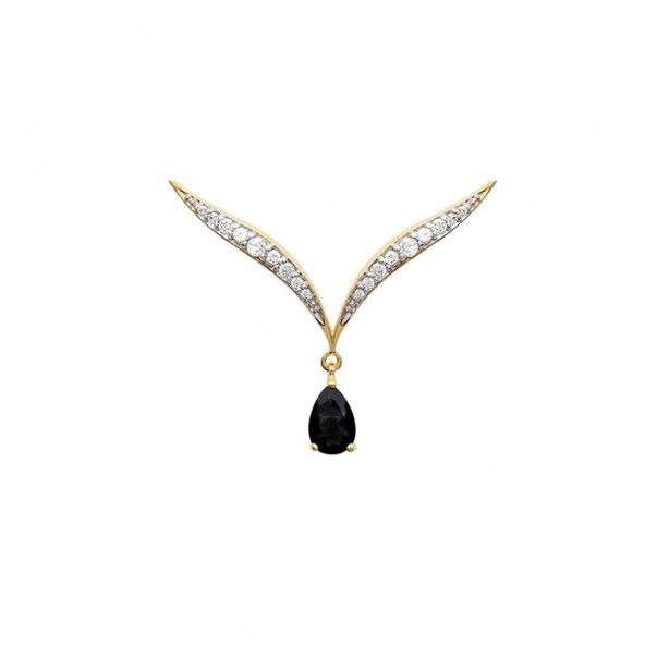 Extensible Necklace V-Shaped 40 + 5 cm Bicolor Zirconium Gold Plated