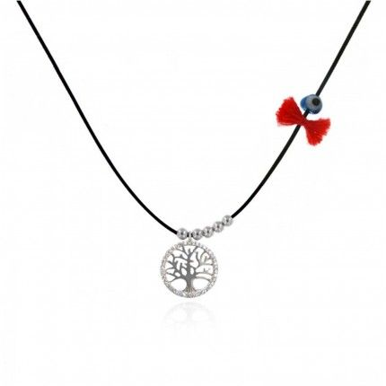 Collier Amulette Arbre de Vie Zircon ARgent 925/1000