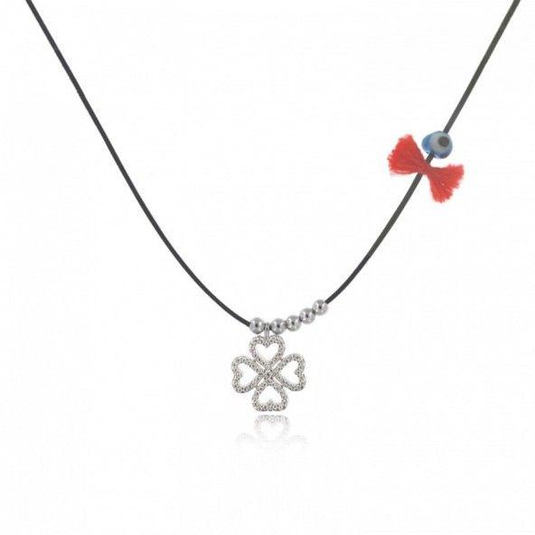 MJ Silk Thread Necklace Clover Zirconium 925/1000 Silver