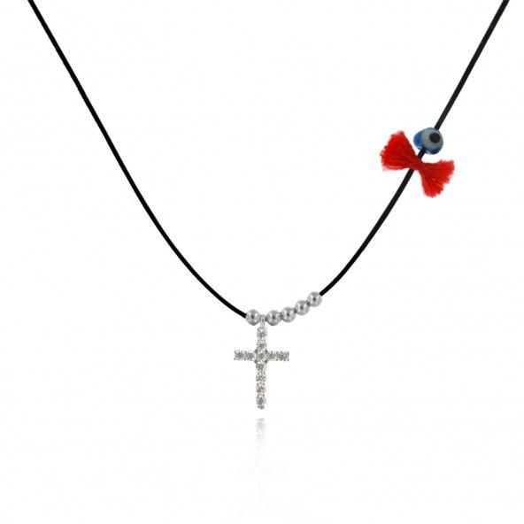 Collier Amulette Croix Zircon Argent 925/1000
