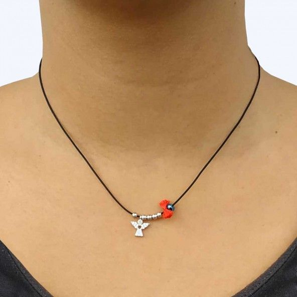 Collier Amulette Ange Zircon Argent 925/1000