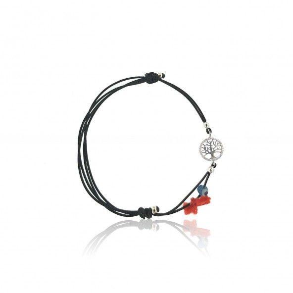 MJ Silk Thread Bracelet Tree of Life Zirconium 925/1000 Silver