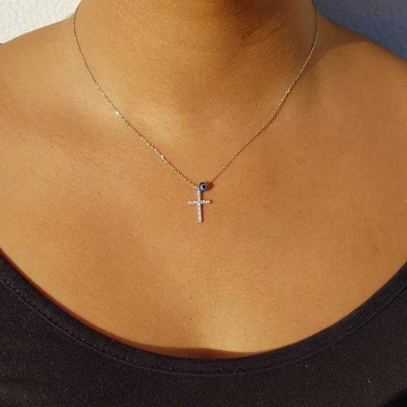 Extensible Zirconium Necklace Cruz 40 + 5 cm 925/1000 Silver