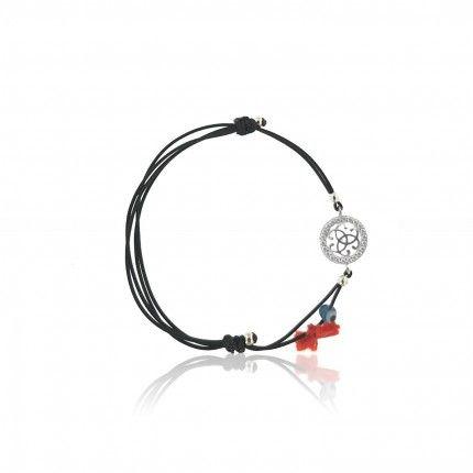 MJ Silk Thread Bracelet Friendship Symbol Zirconium 925/1000 Silver