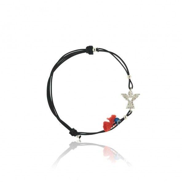 Bracelet Amulette Ange Zircon Argent 925/1000