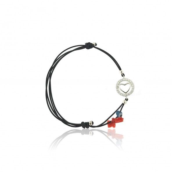 925/1000 Silver Silk Thread Bracelet Heart Circle With Zircónium.
