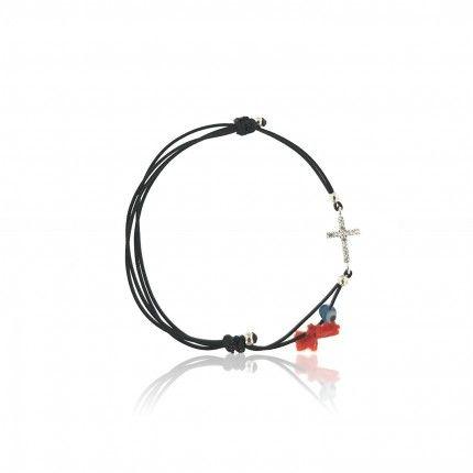 Bracelet Amulette Croix Zircon Argent 925/1000