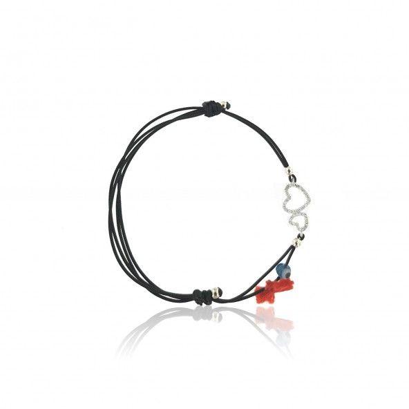 Bracelet Amulette Double Coeur dans Cercle Zircon Argent 925/1000