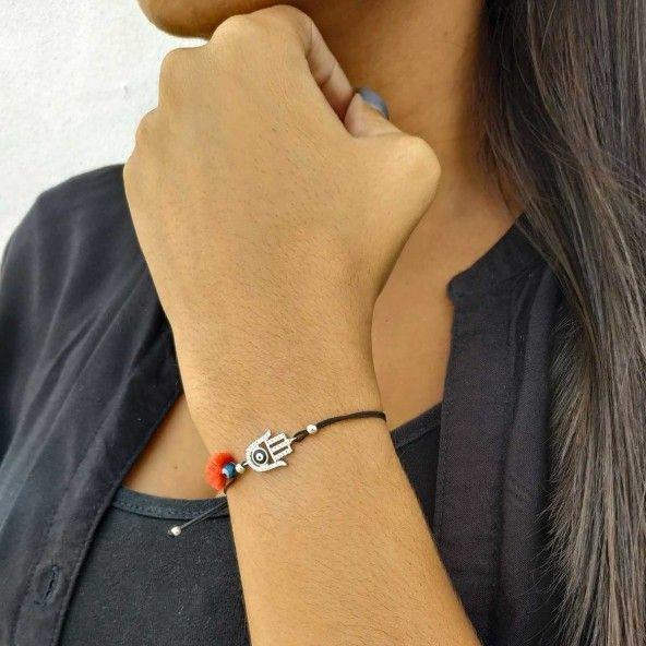Bracelet Amulette Main de Fatma Zircon Argent 925/1000