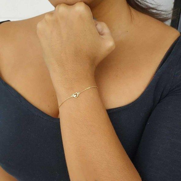 Bracelet Coeur avec Zircon Plaqué Or