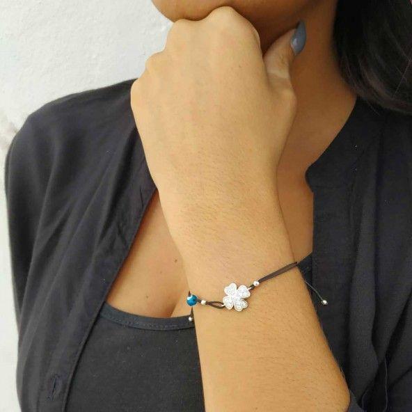 MJ Silk Thread Bracelet Clover Zirconium 925/1000 Silver
